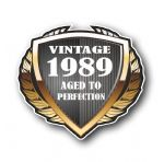 1989 Year Dated Vintage Shield Retro Vinyl Car Motorcycle Cafe Racer Helmet Car Sticker 100x90mm
